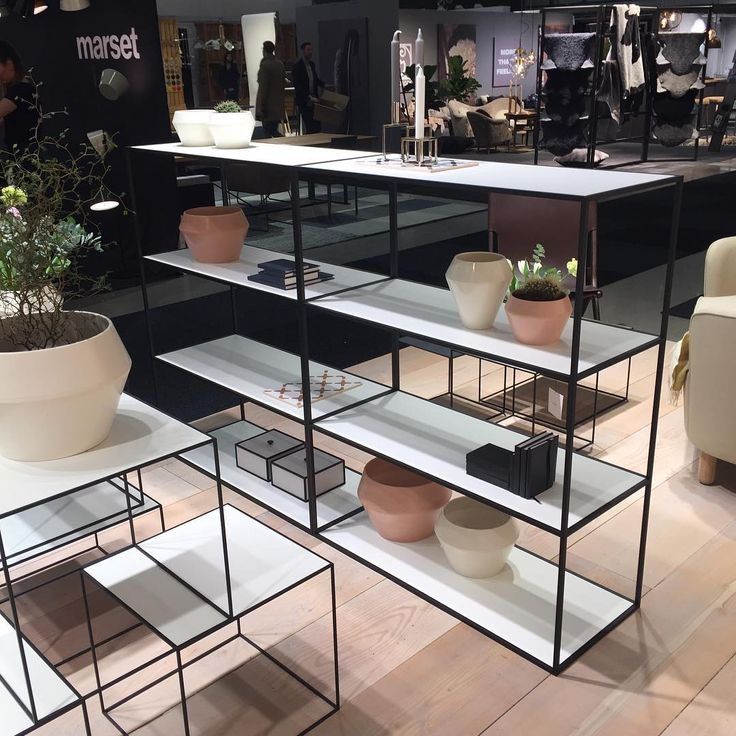 """""""The Twin Bookcase and Rimm flowerpots and vases are from our 2016 collection. /Nadia Lassen  #bylassentakeover @nadialassen #stockholmfurniturefair…"""""""
