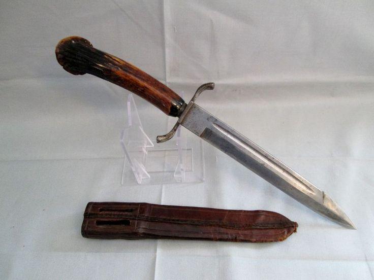 Rare Antique German Dagger Knife Stag Handle Knives