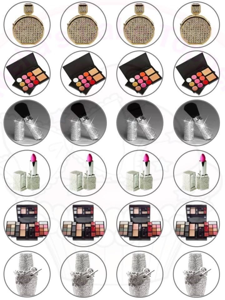 24 x Bling Make Up Cake & Cupcake Toppers Edible Wafer Paper Girls ladies #MAGiftsShop #cakesCupcakesToppersBirthdayAnniversary