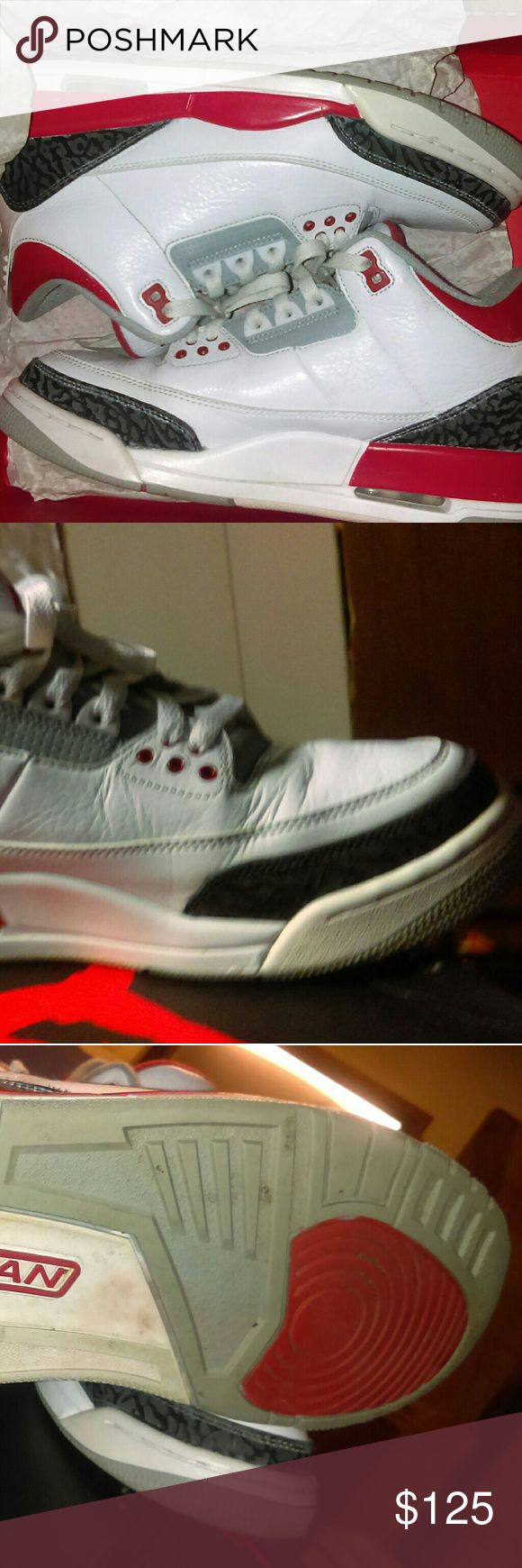 jordan retro 3s infrared fire redgreat condition jordan shoes