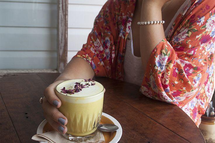 turmeric latte at woods bangalow