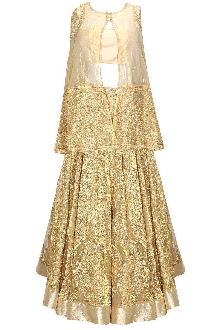 Gold fully embroidered cape lehenga set available only at Pernia's Pop Up Shop.#designer #fashion #HappyShopping #love #shopnow #rahulmishra #festive