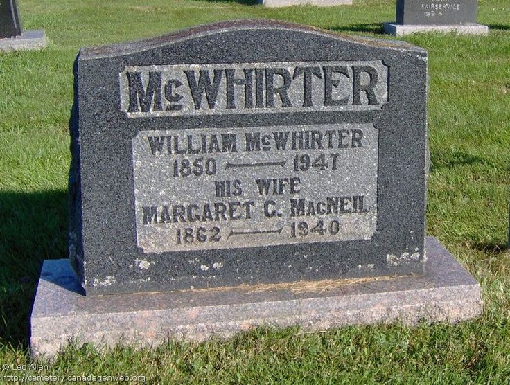 QC: St Andrew's United Church Cemetery (William McWHIRTER), CanadaGenWeb's Cemetery Project