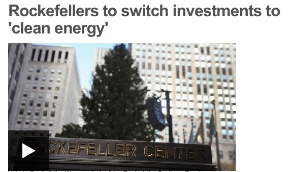 Rockerfeller Brothers Fund, worth US$860m, is to diversify out of fossil fuel based assets. It is in oil that the Rockerfeller empire was founded; now along with other philanthropists they are looking at investing in clean energy, 'a smart business opportunity and a moral imperative'.