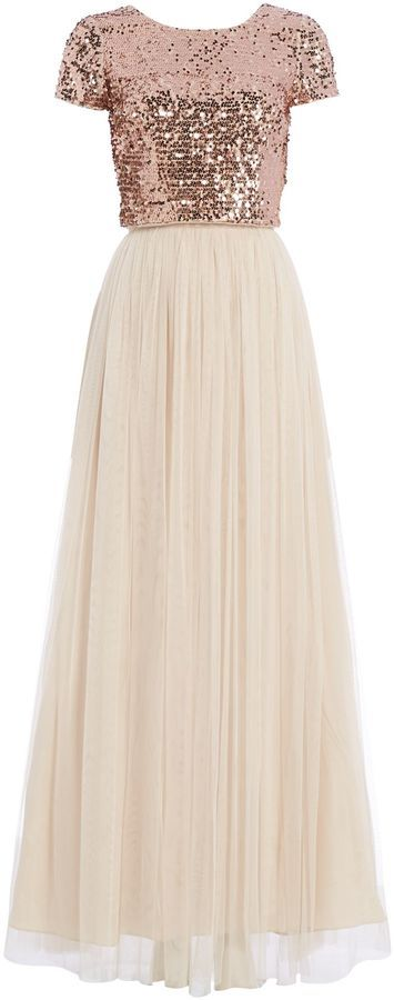 Adrianna Papell Sequin top and tulle maxi skirt