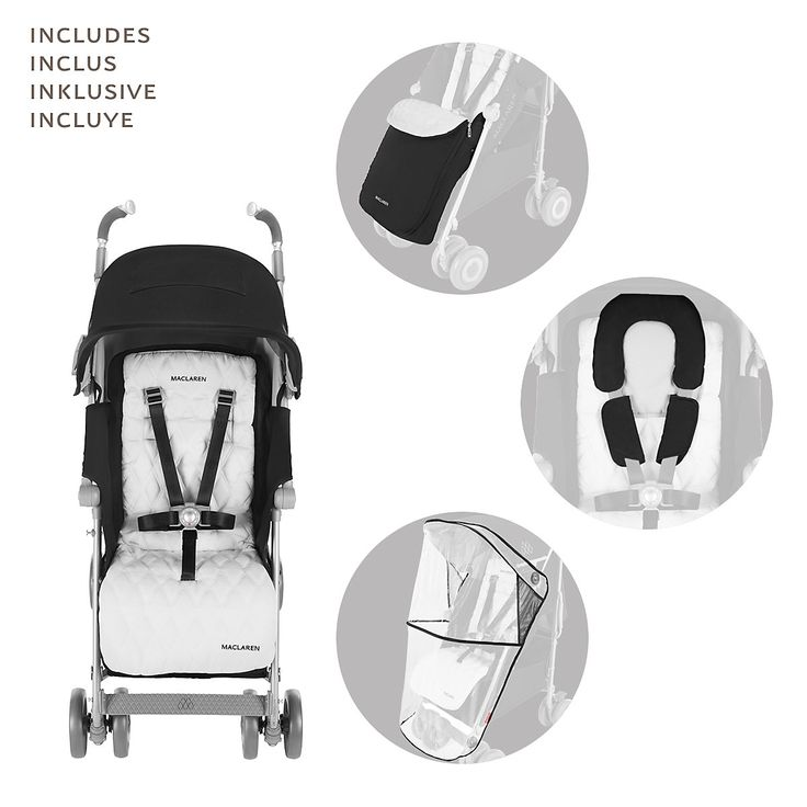 Maclaren XLR BackIntroThe largest most luxurious umbrella fold stroller in the world. Techno XLR is a favourite among first-time parents. Featuring a full recline 4-position seat with convenient one-handed adjustment, extendable leg rest, built-in Newborn Safety System™, coordinating headhugger & shoulder pads, and cosy winter boot. A stylish full-size Carrycot is available, transforming the stroller into ideal lie-flat pram.