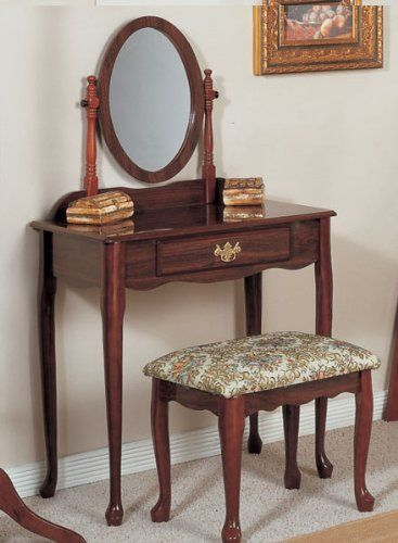 Traditional Cherry Vanity Set w/ Stool and Mirror H-M SHOP, To SEE or BUY Just CLICK on AMAZON right HERE http://www.amazon.com/dp/B0040MW4C6/ref=cm_sw_r_pi_dp_rl8ctb19AVSJRKGN