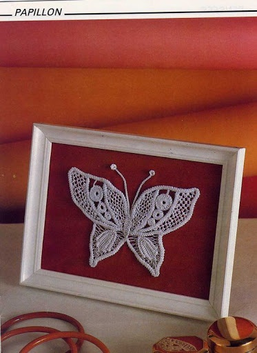Framed Romanian Point Lace butterfly