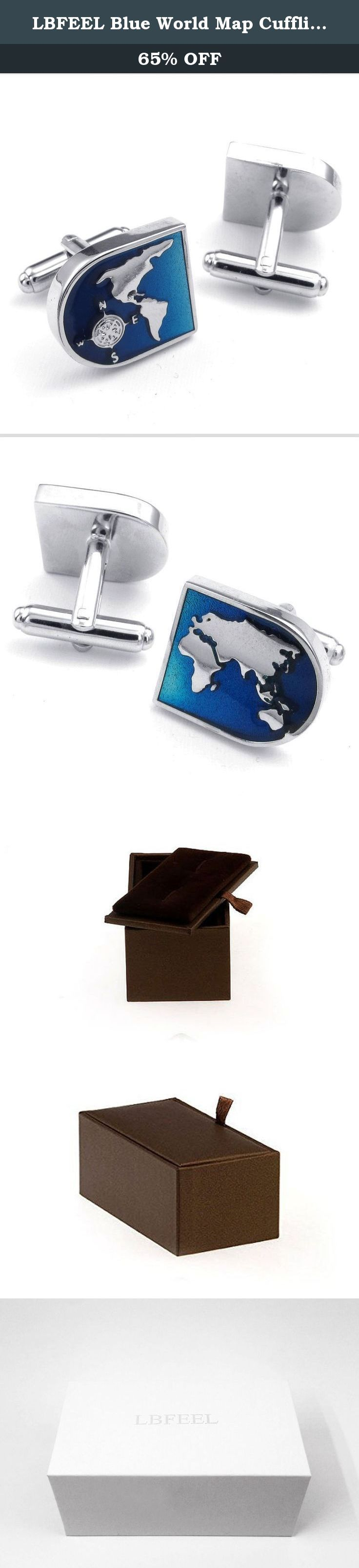LBFEEL Blue World Map Cufflinks for Men with a Gift Box. These are very cool cufflinks. The map of the world is defined and fairly accurate. The mechanism is smooth and the bar deploys cleanly and stays in place. They come with a nice gift box for storage. The blue of the ocean goes with most suits and pairs well with most dress shirts.