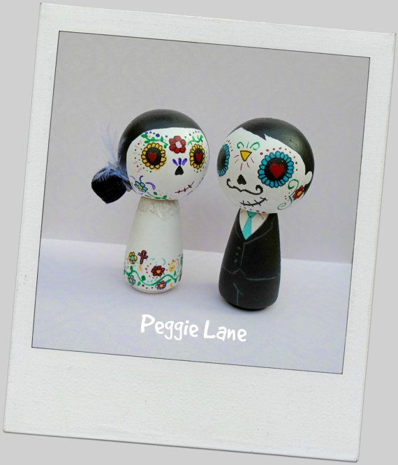 Day of the Dead Sugar Skull Kokeshi Peg Doll Wedding Cake Toppers, Sugar Skull bride & groom cake toppers