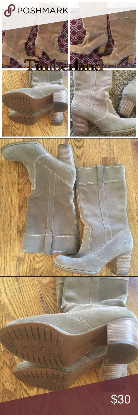 Suede Timberland  waterproof boots with heel Tan waterproof suede Timberlain boots with Heel  good used condition has some minor wear price reflects and some color transfer on the pull straps of the boots no longer can wear heels due to nerve damage. Timberland Shoes Winter & Rain Boots