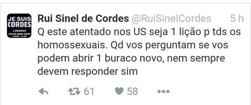 Portuguese conservative stand-up comedian reacts to the Orlando massacre with predictable hateful joke