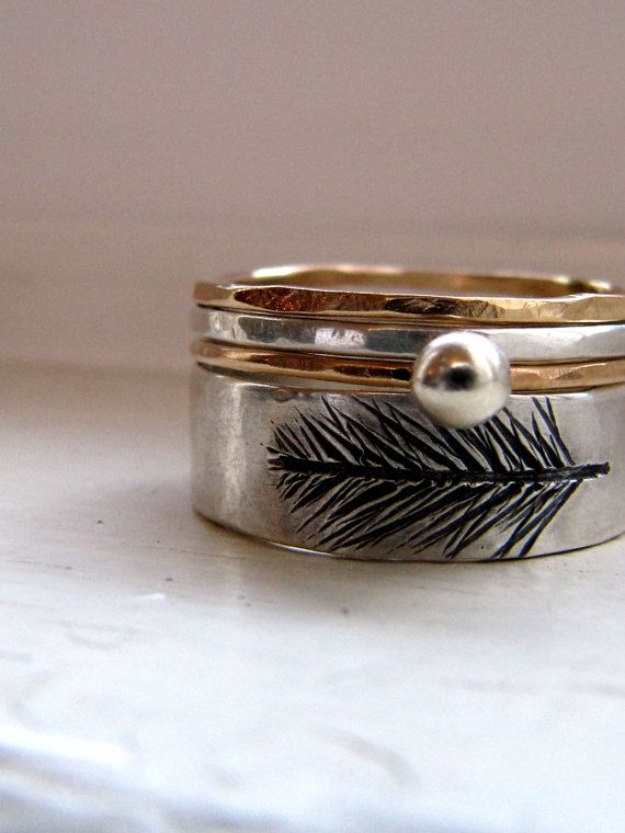Etched Silver Feather Band Stacking Ring Set