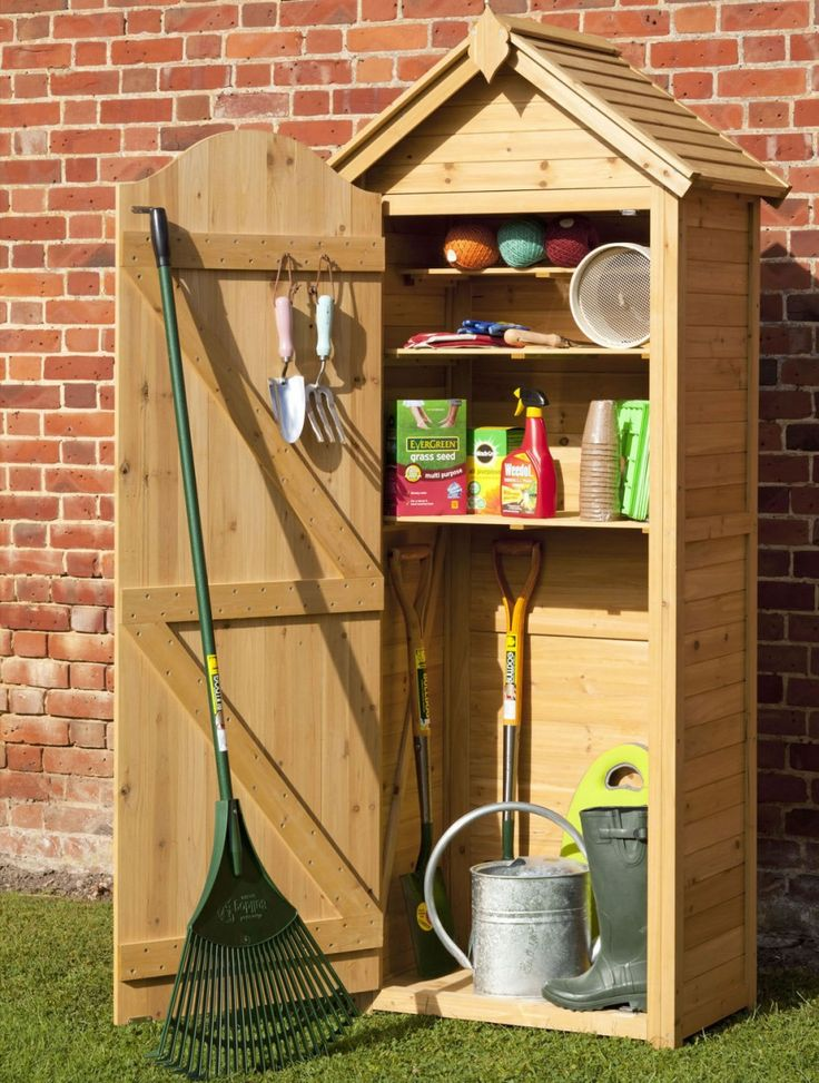 Enthralling Wood Garden Storage Cabinet From Knotty Pine Wood Planks With  Wooden Handle Spade And Small