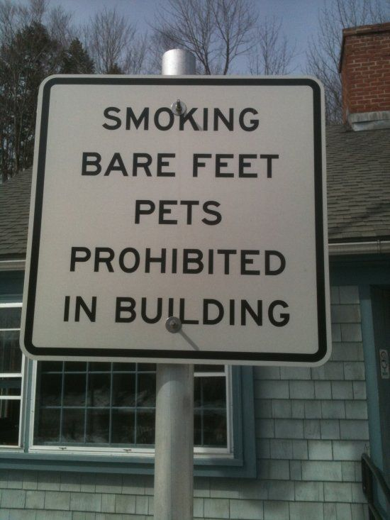 So which is it, you can't smoke your pets that have bare feet? or you can't you can't bring your pets when their bare feet are smoking? :)