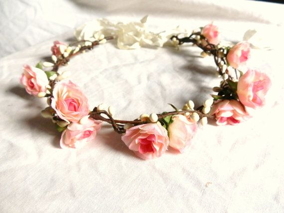 Woodland flower floral crown hair wreath (pink rose) - Wedding headpiece, headband, vintage inspired rose crown, french ribbon pip berries