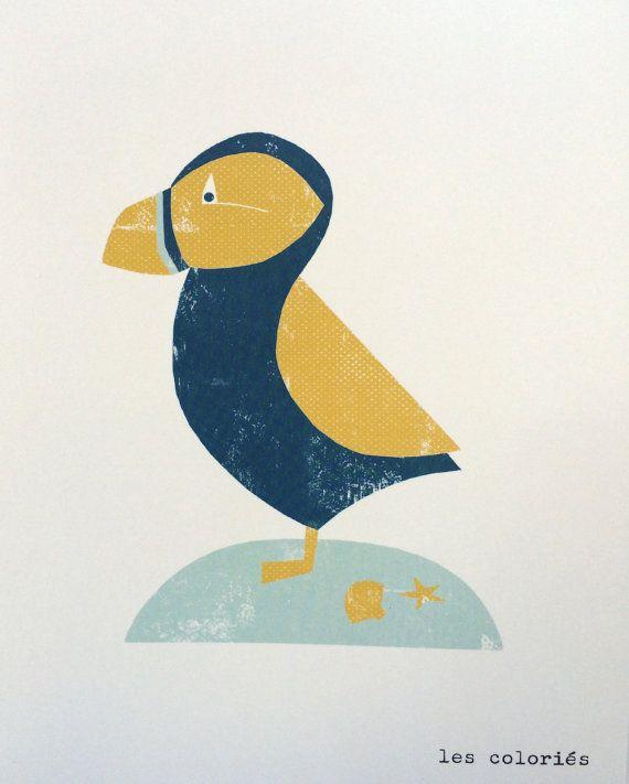 Illustration de macareux affiche d 39 animaux marins for Minimaliste art de vivre