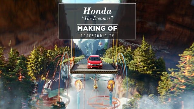 Roof Studio boutique production house in NYC designs for Honda Civic 2016 the dreamer commercial with 3d and cgi animation and broadcast design in New York City.