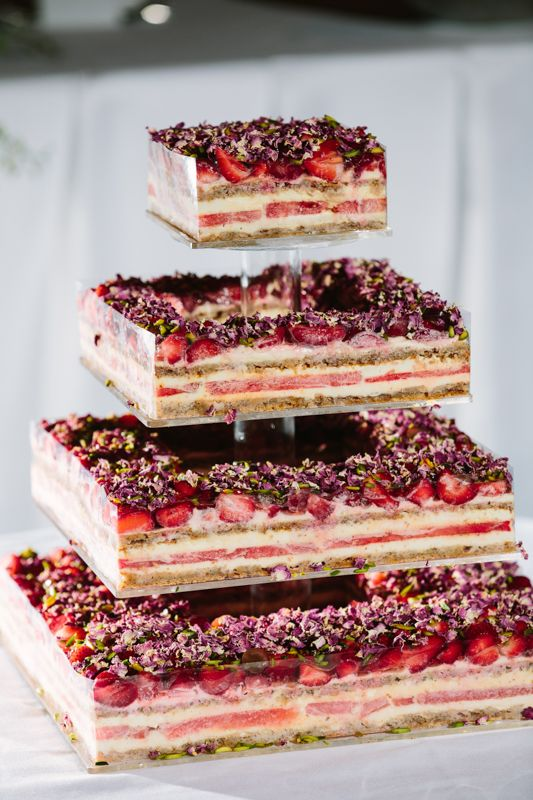 4xtiered Strawberry Watermelon Wedding Cake with Rose Scented Cream