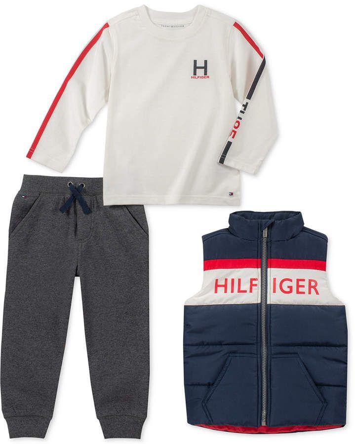 fc34610e13e94 Tommy Hilfiger Baby Boys 3-Pc. Vest, Logo T-Shirt & Jogger Pants Set ...