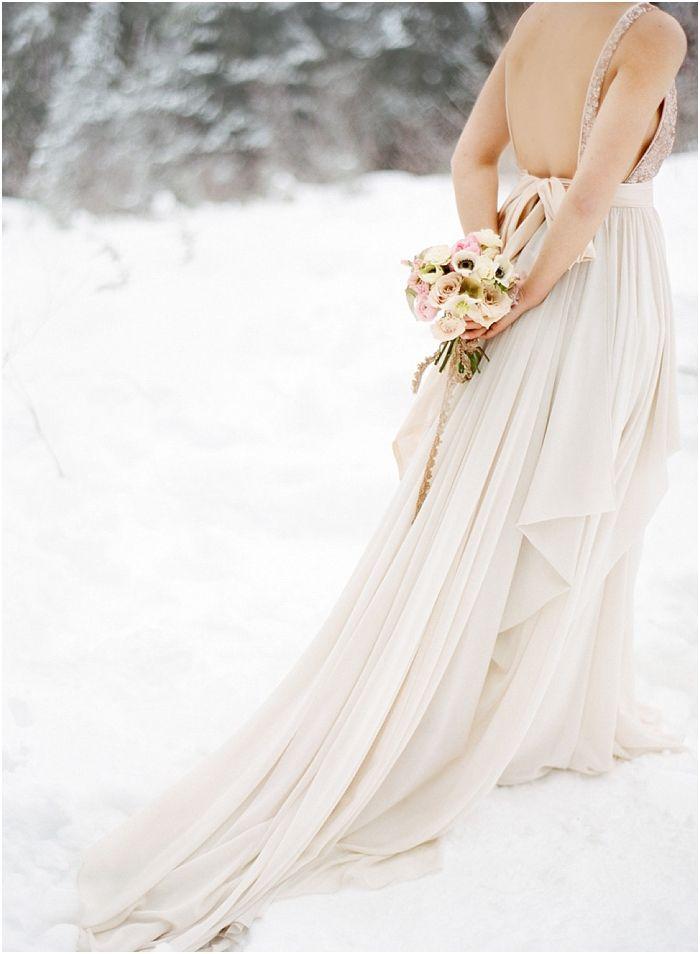 blush wedding dress | Nadia Hung Photography | Blush Winter Wedding Inspiration in the Snow