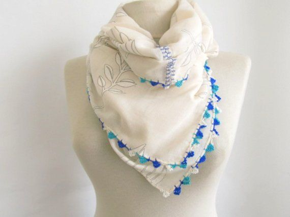 Christmas gift Cream scarves turkish scarves Rectangle by asuhan, $12.50