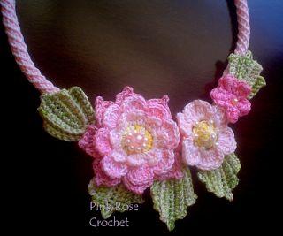 PINK ROSE CROCHET /: Colar Crochê com Flor