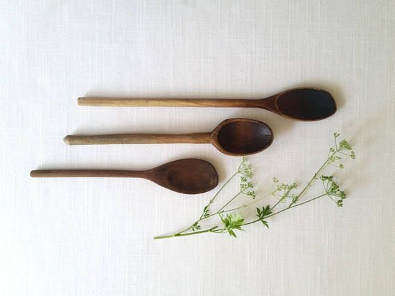 Three Vintage Wooden Spoons . Wood Spoons . Baking Cooking .