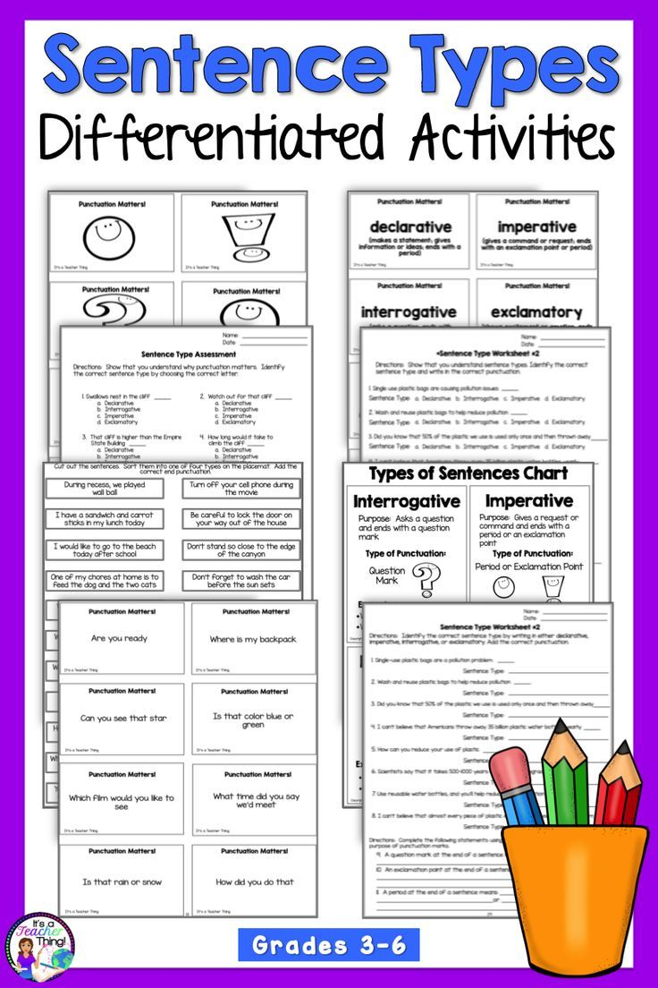You Ll Love This Types Of Sentences Resource That S Full Of Activities Worksheets Fun Practice And Sentence Activities Teaching Punctuation Teaching Writing [ 1104 x 736 Pixel ]
