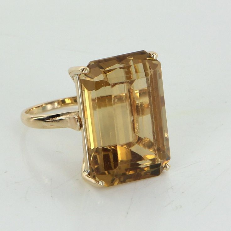 Large 30ct Citrine Cocktail Ring Vintage 18 Karat Yellow Gold Estate Fine Jewelry