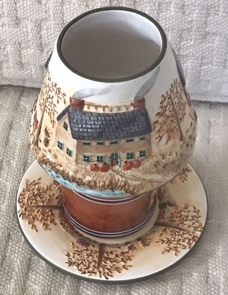 Yankee Candle Harvest Farm House Autumn Small Jar Shade Topper & Plate Pumpkins  | eBay