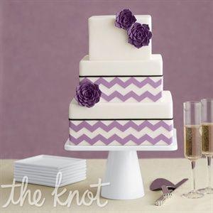 Purple chevron wedding square cake