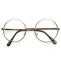 Lennon Mid Size Full Metal Frame Clear Lens Round Glasses