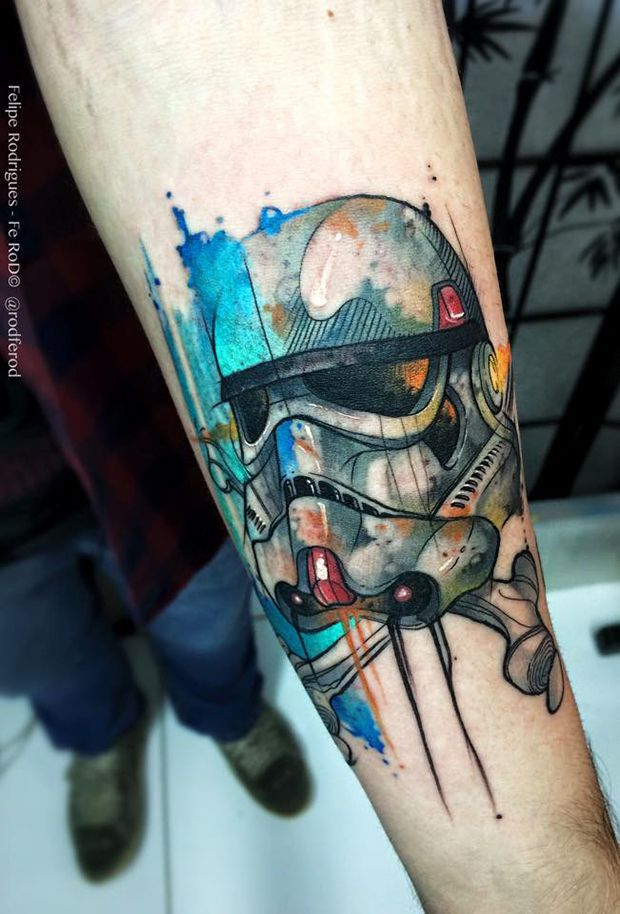 Watercolor tattoo Felipe Rodrigues stormtrooper