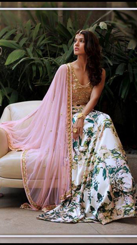 Beautiful Floral Print lehenga and mirror work Blouse and Dupatta