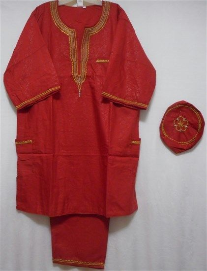 African Suit Ethnic Men Pant Suit Traditional Cultural Pant Suit 1 Size Red Gold #Handmade #TraditionalPantSuit