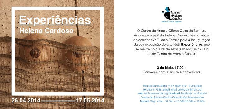 """Invitation to Helena Cardoso's textile art exhibition """"Experiências"""", designed by João Fonseca, graphic designer."""