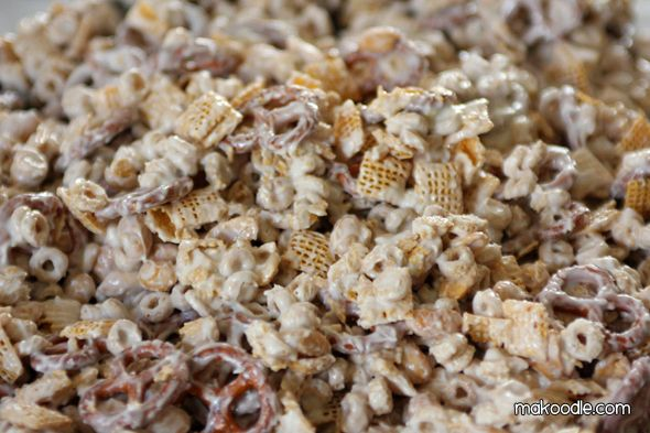 white chocolate chex mix.  My neighbor makes this every Christmas and it is DIVINE!!!