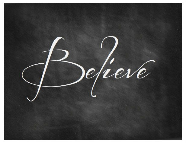 Believe Chalkboard Art Printable
