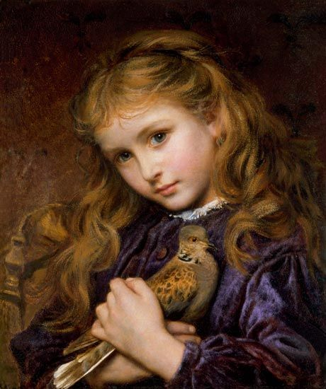 The Turtle Dove by French born English Painter Sophie Anderson 1823 - 1903 http://www.myartprints.com/a/perugini-charles-edward/at-the-well-1.html