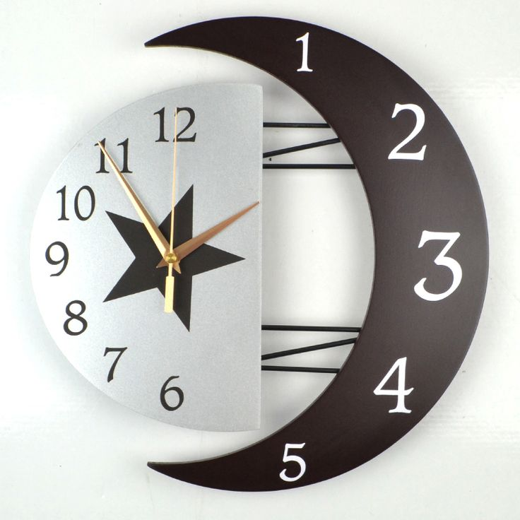 Personalized moon wall clock fashion brief modern silent quartz Mediterranean style Bedroom living room creative decorative