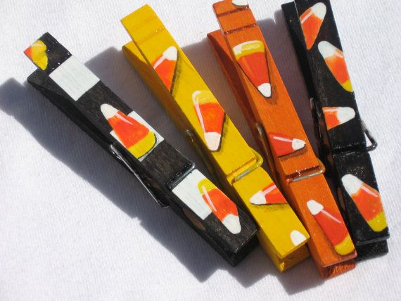 Candy corn hand painted magnetic clothespin set colors for Mini clothespin craft ideas