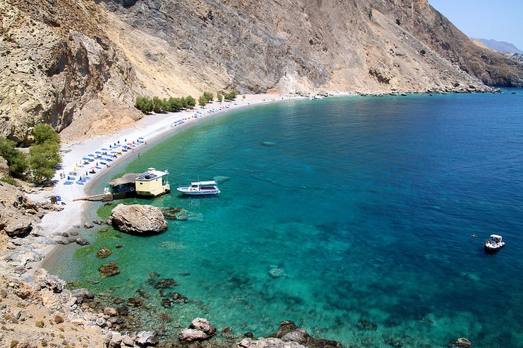The splendid #beach of #Glyka #Nera (#sweet #water) between #Sfakia and #Loutro in #south #Crete.  www.cretetravel.com
