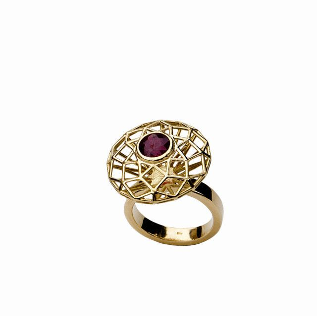 XL Diamond Shaped 18k Gold Ring with Ruby. Designed by Hella Ganor. JEWELRY FROM ISRAEL