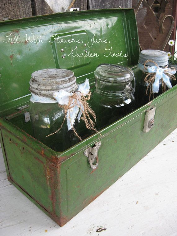 Vintage Green Metal Tool Fishing Box ~ Rustic Charm  by SweetMagnoliasFarm,   SOLD TO A GOOD HOME
