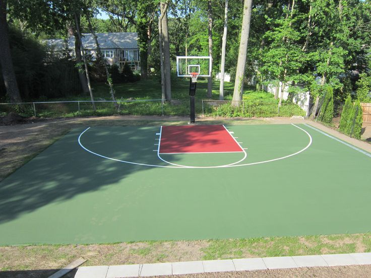 This Is A Forest Green And Red Concrete Backyard Basketball Court We  Painted In Short Hills