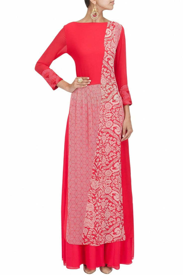 Red and printed patch work tunic. MANISH MALHOTRA