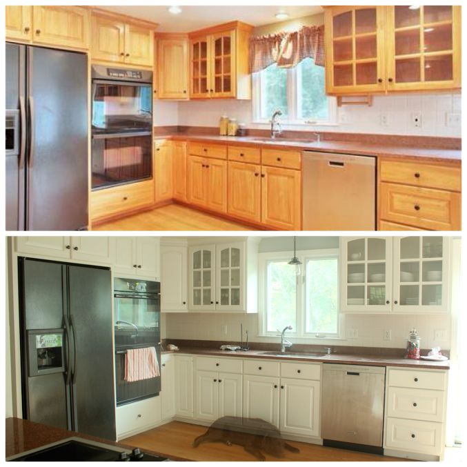 Awesome before and after DIY kitchen cabinet makeover. What a transformation!   I love the white cabinets.