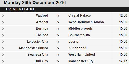 Welcome to Oghenemaga Otewu's Blog: Boxing Day Premier League fixtures