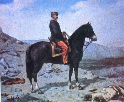EL GENERAL BAQUEDANO A CABALLO,  Óleo sobre madera 46 x 54 cm Colección Particular